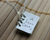 Family Book Hand Stamped Sterling Silver and Brass Necklace, A Love Story, Book of Love Storybook Mom kids names birthday