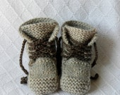 100% Wool Lace-up Baby Boots (Tan)