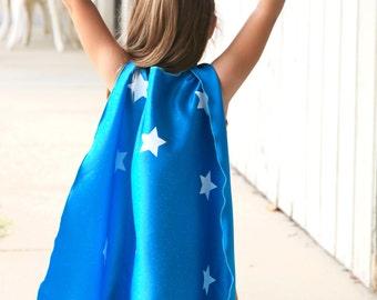 New Unique Kids Superhero Costume - 2 Piece STAR SUPERHERO CAPE Set includes coordinating wrist bands - Ships Fast - Kids Halloween Costume