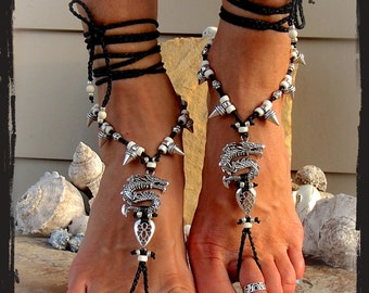 Goth DRAGON BAREFOOT sandals Black Toe Anklets Spike jewelry DRACULA Wanderlust toe thong crochet sandal bare feet Gothic jewelry GPyoga