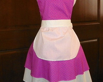 French Maid Apron Magenta with White Dots Handmade for you to use during your cleaning, cooking, entertaining activities