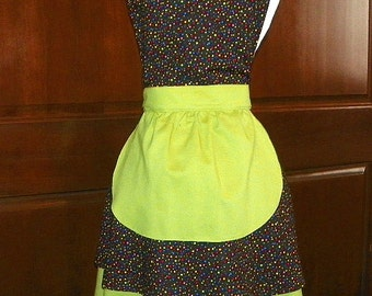 French Maid Apron Multi Colored Dots on Black Handmade for you to use during your cleaning, cooking, entertaining activities