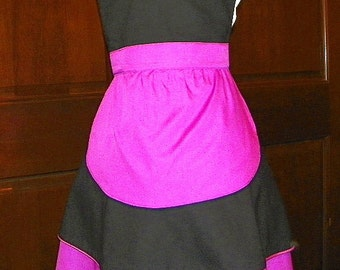 French Maid Apron Orchid and Black Handmade for you to use during your cleaning, cooking, entertaining activities