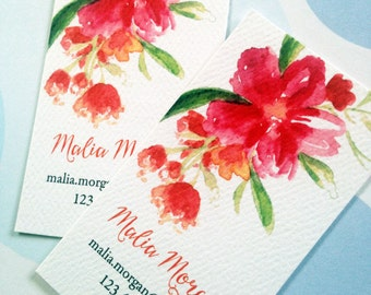 Personalized Floral Business Cards, Calling Cards, Set of 50