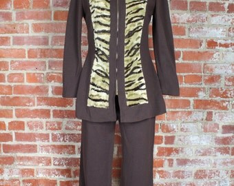 70s Brown Pant Suit . Wool Disco Animal Print . Retro Halloween . Small S