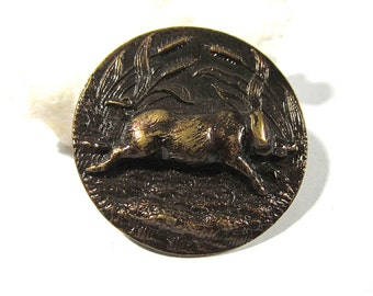 Running Boar Victorian Picture Button ANTIQUE Boar Pig Button One (1) Brass Button Running Boar Vintage Sewing Jewelry Supplies (G100)