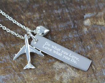 Pilot Flight Attendant Jewelry Engraved Airplane Necklace, Do What You Love What You Do, Graduation Gift 925 Sterling Silver