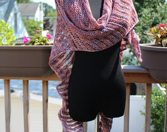 merino lightweight knitted scarf shawl wrap multi color handmade