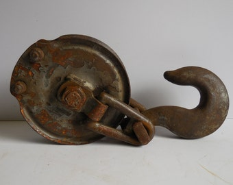 Antique Pulley, Barn, Hay, Dock Metal wheel Industrial Rustic cast iron Removable Big hook salvage