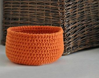 Small Orange Basket  Catchall Storage Bin Modern Decor Contemporary Design Home Decor Custom Colors