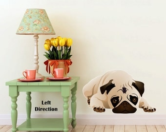 Reusable Pug Full Color Wall Decal - Pug Puppy Decor - Pug Wall Graphic - Pug Dog Wall Décor - Pug Posing Wall Decal - Pug On The Wall Decal