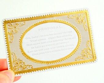 Antique marriage proposal card gold art nouveau design Paper Ephemera