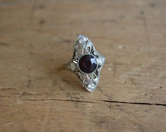 Art Deco 14K filigree diamond garnet dinner ring ∙ Art Deco north south diamond ring