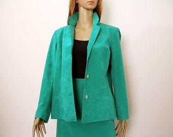 Vintage 1970s Skirt Suit Teal Turquoise Ultrasuede Jacket Flared Skirt / M to L