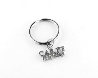 Carpe Diem Sterling Silver Key Chain