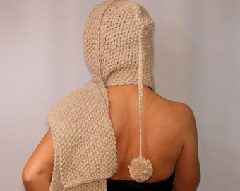 Knit Cowl Hood, Cowl Scarf Hood, Knitted Hood, Knit Hooded Scarf, Warm, Infinity, Scoodie, Pixie, Knit Hoodie, Hood Scarf, Winter Gift Idea