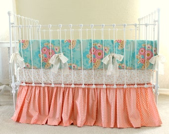Baby Girl Crib Bedding in Peach, Cream, and Mint, 3-Piece Baby Bedding Set with Bumper, Sheet, and Ruffle Skirt for Custom Nursery