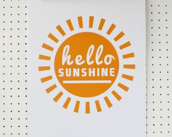 Hello Sunshine Yellow Print Poster A3