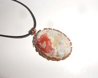 Poppy Jasper & Copper Stone Pendant Necklace Hand Formed Copper Mount -Leather Cord