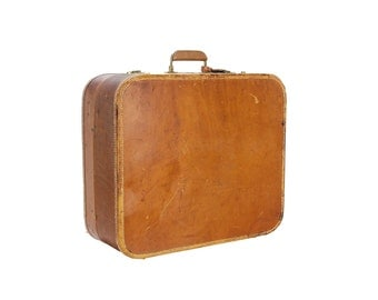 vintage large belber tan leather suitcase