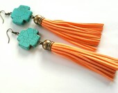 Turquoise cross and  tassel earrings- bohemian earrings- peach tassel