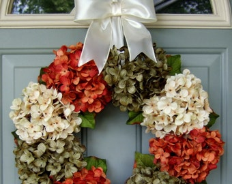 Fall Wreath - Fall Hydrangea Wreath - Fall Hydrangea Door Wreath