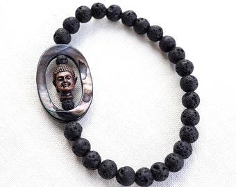 Copper Buddha Meditation Bracelet, Mother of Pearl, Santorini Black Lava Stone Bracelet. Natural Stone Bracelet. Tribal Boho Yoga Bracelet