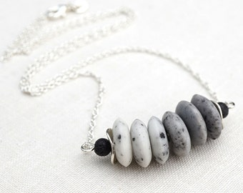 White to Gray Ombre Stone Necklace Bar Necklace Black Lava Stone Necklace Sterling Silver Modern Minimalist Simple Necklace Christmas Gift