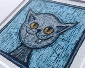 Grey cat picture - portrait of a grey cat on ice blue Giclée print from an original drawing by stupidcats - cat art