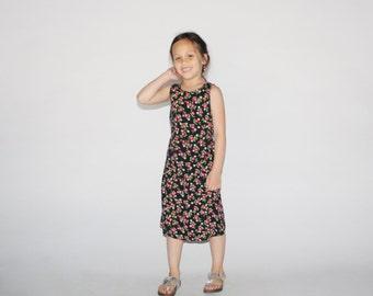 Kid's Vintage 90s Floral Dress - 1990s Soft Grunge Day Dress - Children's Vintage - K0046