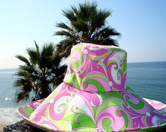 Wide Brim Hat 70's style Sun Hat Summer Fashion  pink neon green Hat by Freckles California