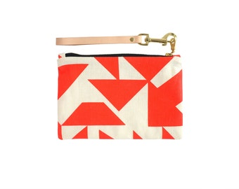 Parallels Clutch - Leather Wristlet - Geometric Modern Organic Cotton