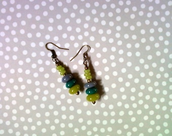 Lime Green, Teal Blue and Gray Ethnic Earrings (2196)