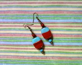Light Blue and Red Ethnic Inspired Earrings (2229)