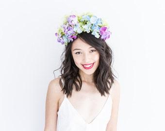 ethereal green blue purple flower crown headband // Kalina / spring wedding floral headpiece hair accessory, nature woodland garden