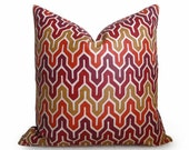 Flamestitch Chevron Designer Decorative Pillow Cover - 18 inch - Red - Gold - Orange - BOTH SIDES - Throw Pillow - Designer Fabric - Accent