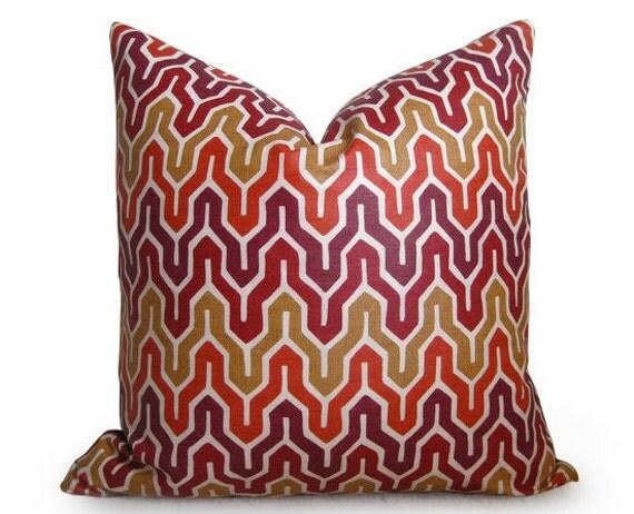 Flamestitch Chevron Designer Decorative Pillow Cover - 18 inch - Red - Gold - Orange - BOTH SIDES - Throw Pillow - Designer Fabric - Accent