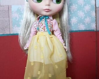 Blythe Vintage Cute Yellow Vintage Shirt and Skirt Set