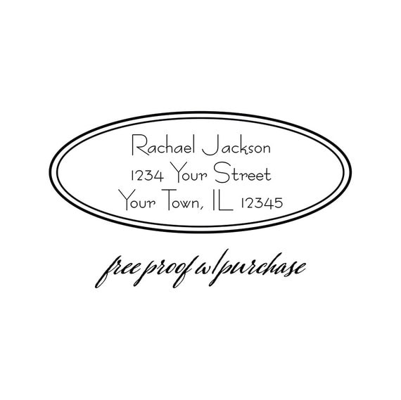 """Retro Custom Vintage Return Address Stamp in Oval Borders. Pick Self-inking or Mounted with Handle Return Address Stamp 2 1/2"""" x 1"""" (20269)"""