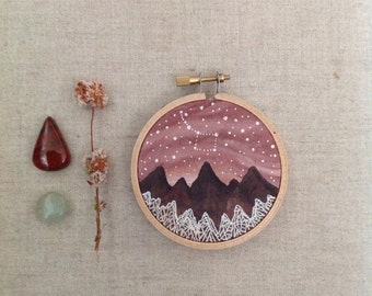 Made to Order // Home Decor, Original Hoop art // Big Dipper and the Ice Forest