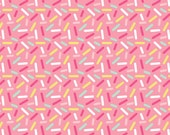 Donut Sprinkles Pink Colorful Fabric by the Yard