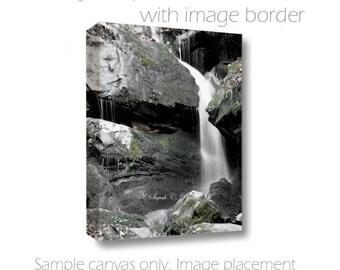 Waterfall Canvas-Nature Wall Decor-Fine Art Photography-Living Room Wall Art-Vertical Art-Gallery Wrap Canvas-Moss-Rocks-White-Gray-Green