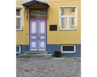 Fine Art Color Photography of Purple Doors and Yellow Wall in Tallinn Estonia