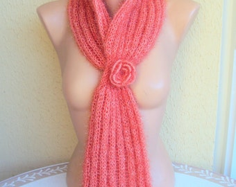 Knit Flower  Scarf Cowl Neckwarmer with Glitter and Crochet Flower Scarflette Ready to Ship Gift For Her