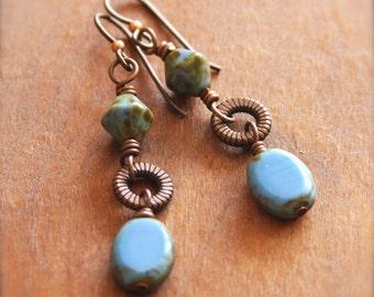 Rustic Blue Earrings, Czech Glass Copper Dangle Earrings, Earthy Drop Earrings