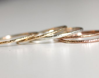 Set of 2 - Skinny ring, 14K gold, stacking ring, accent rings, stardust textured