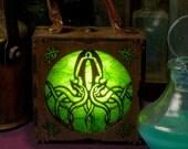 Steampunk Arkham Alchemist Cthulhu Warding Latern. LED accessory box. H P Lovecraft, Necronomicon.
