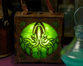 Steampunk Arkham Alchemist Cthulhu  Lantern. LED accessory box. H P Lovecraft, Necronomicon. Steampunk lamp.