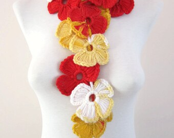 Crochet Scarf, Jewelry Scarves, Flower Lariat Necklace, Crocheted Women Accessories, Spring Scarf, Red Yellow White, Colorful, Variegated