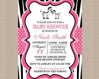 Zebra Baby Shower Invitation, Hot Pink, Black, Girl Baby, Printable Baby Shower Invitation